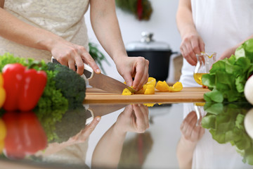 Close-up of  human hands  cooking in a kitchen. Friends having fun while preparing fresh salad. Vegetarian, healthy meal and friendship concept