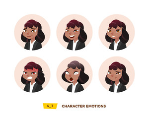 Characters avatars emotion in the circle.