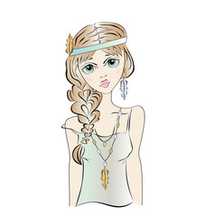 Boho girl, hippie. Portrait of a young woman. Vector illustration, isolated on white background.