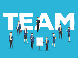 Vector creative illustration of business team. People and team word lettering typography on blue background.