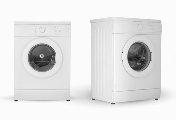 modern household washing machine two positions on a white background
