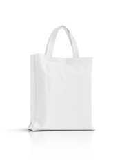 blank white fabric canvas bag isolated on white background