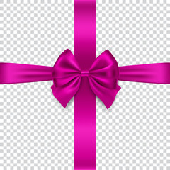 Silk bow and ribbon isolated on transparent background, vector