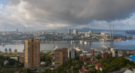 Vladivostok cityscape at early morning.