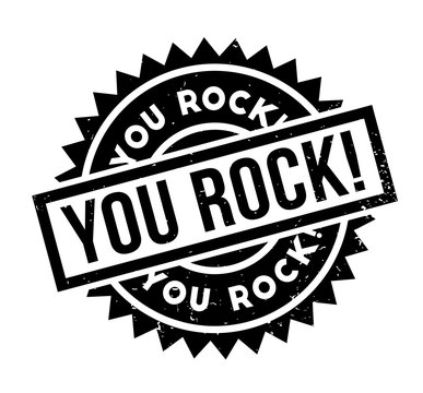 You Rock rubber stamp. Grunge design with dust scratches. Effects can be easily removed for a clean, crisp look. Color is easily changed.