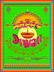 Colorful Indian truck painting on Happy Diwali card for festival of light of India