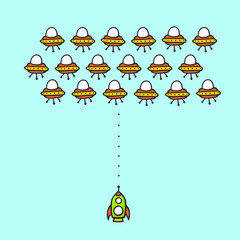 Hand drawn cartoon style ufo arcade game concept. Rocket in space against aliens ships comic mobile game level.
