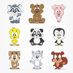 Set of cute cartoon characters animals
