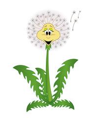 Cute cartoon dandelion. Vector flower illustration isolated on white background. Cartoon plant.