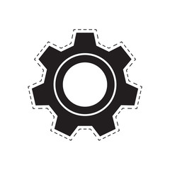 gear wheel. black gear with a dotted line. abstract geometric detail. white background. vector illustration.