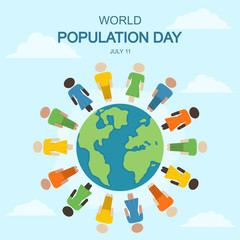 World Population Day, 11 July. People standing at Earth conceptual illustration vector.