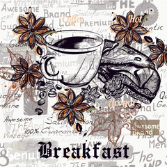 Coffee vector poster background with engraved coffee cups, grains. New York breakfast
