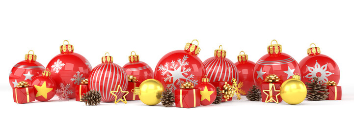 Many red and golden christmas baubles and christmas decorations over white background - panorama - merry christmas concept - 3d render