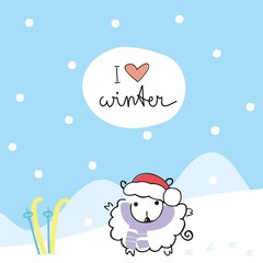 Christmas card with sheep in the bell of Santa Claus and skiing with handwritten text: I love winter. Vector illustration. Doodle art.