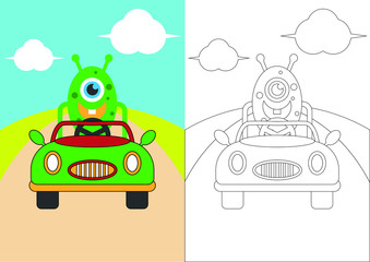 monsters drive a car vector cartoon for coloring book or page