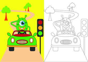 monster obeys the signs of traffic signs vector cartoon for coloring book or page