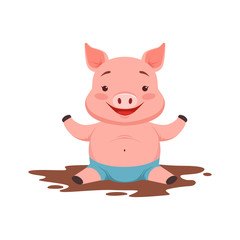 Cute happy pig sitting in a dirty pool, funny cartoon animal vector Illustration