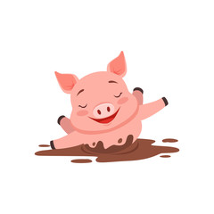 Cute happy pig bathing in a dirty pool, funny cartoon animal vector Illustration