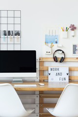 Home office with headphones