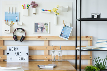 Cozy workplace with headphones
