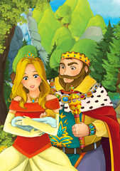 Cartoon scene with some beautiful married couple in forest - illustration for children