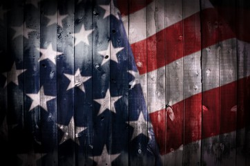 American Flag on Wood Wall mural