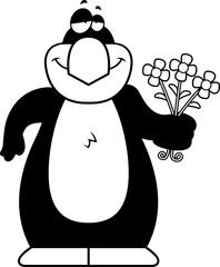 Cartoon Penguin Flowers