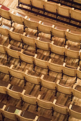 Beautiful wooden seats in vintage theater