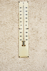 big thermometer on yellow wall