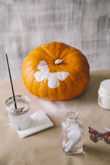 Painted pumpkin on desktop