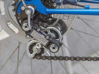 Close-up of rear derailleur of bicycle