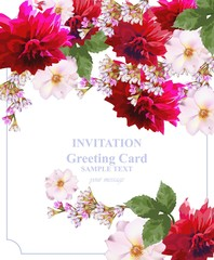 Invitation Card floral vector. Colorful beautiful flowers. Fuchsia and red colors