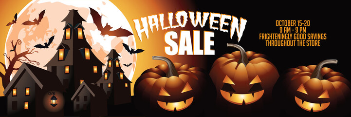 Halloween sale background illustration. EPS 10 vector.