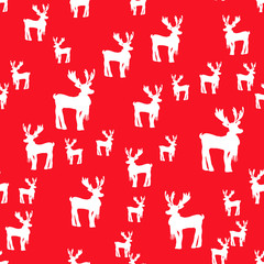 Festive red seamless pattern with white deer silhouettes. Lovely silhouette of Christmas deer Rudolph in scarf. Hand drawn animal illustration for prints, wrapping paper, fabric, design, scrapbook.