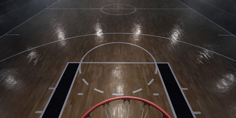 Professional basketball arena in 3D. Big basketball stadium with a lot of fans, bright light and a basketball hoop. View from above.