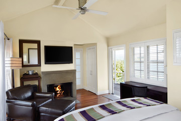 Bedroom in small cottage with TV and fireplace
