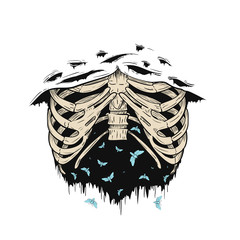 Human ribs or rib cage with flying moths in retro vintage style. Design template for tattoo, print, cover. Vector illustration.