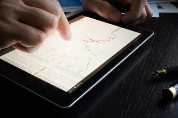 Stock trading data on a tablet screen.