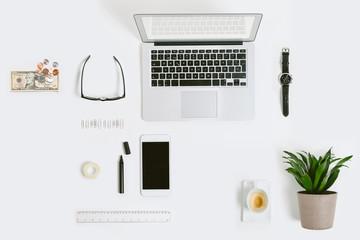 Business mock up on white desk.