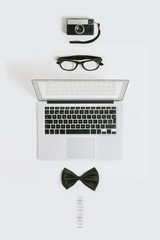 Businessman objects mock up on white.