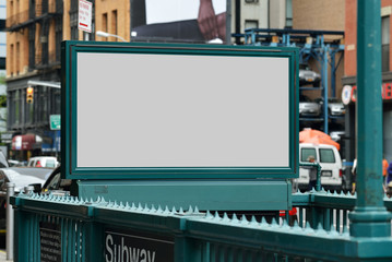 Aluminium Prints New York Subway Entrance Billboard