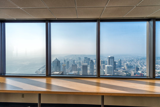 City skyline form large building windows