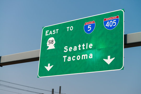 Seattle Tacoma interstate signs