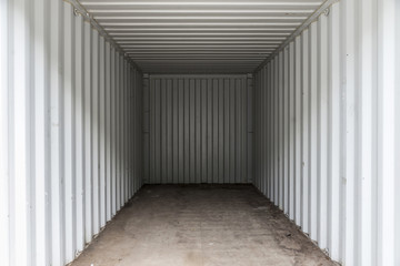 Interior of a white cargo container