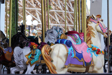 Colorful animals on the Merry Go Round