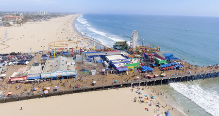 Aerial view of Santa Monica Pier, CA Wall mural