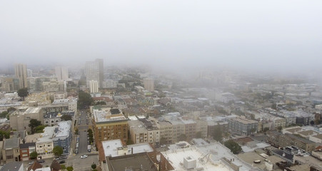 Aerial skyline of foggy San Francisco