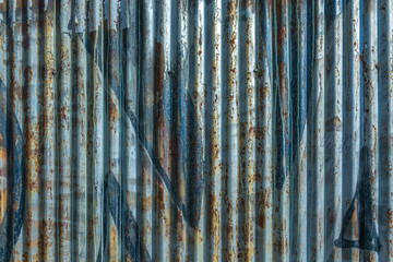 Colorful painted corrugated wall