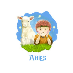 Aries horoscope sign with children digital art illustration isolated on white. Little boy and young cow sitting on the meadow on background of blue sky, horned pet animal sign for prints design