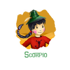 Scorpio horoscope sign with children digital art illustration isolated on white